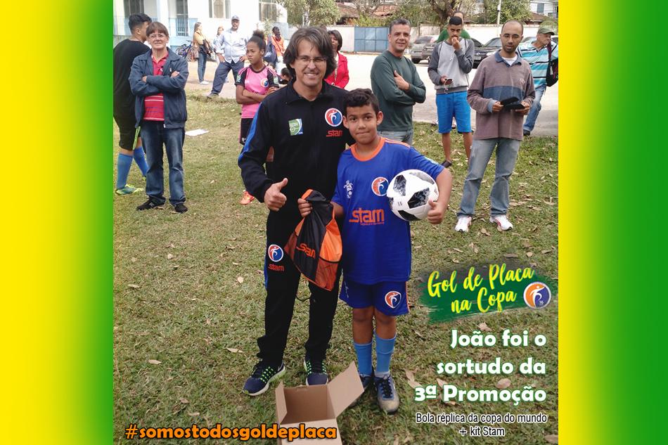 João, vencedor da 3ª Promoção Gol de Placa na Copa