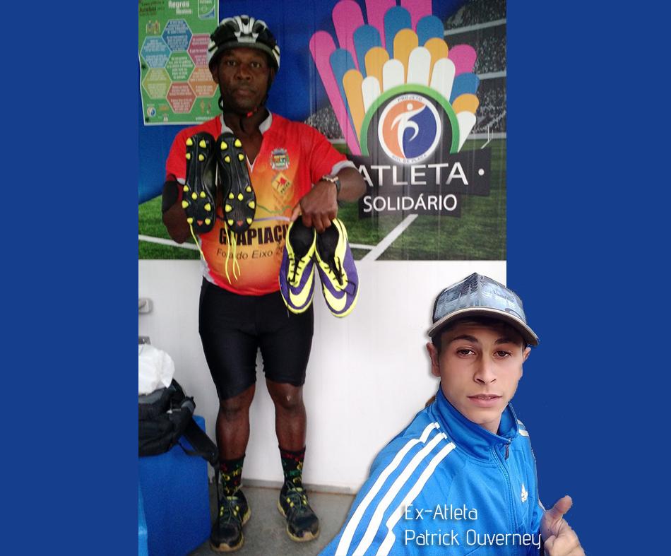 Ailton, o mais novo capatador do Programa Atleta Solidário, leva chuteiras doadas pelo ex-atleta Pat